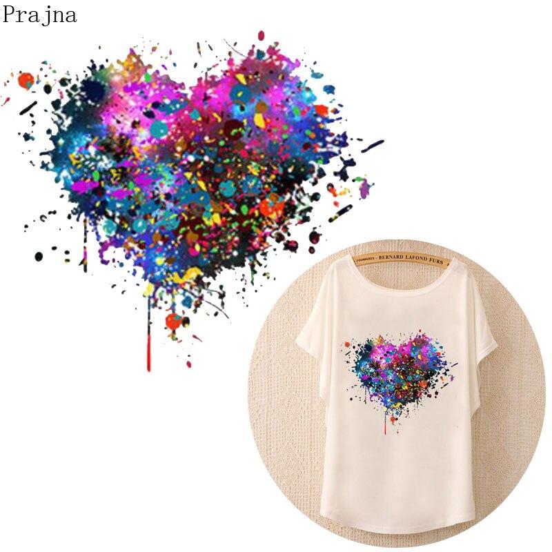 Prajna DIY Heat Transfer Patch Transfer Vinyl Iron On Transfer For Clothes T shirt PVC 3D Heart Patch Sticker Thermal Wholesale