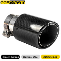 Glossy Carbon Rolling Edge Stainless Steel Car Tail Exhaust pipes Nozzle 0n Muffler Model Of Akrapovic Tip Tail End Universal