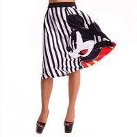 Summer Cartoon Printed Women Dress Clothing Middle Sleeve Cute Striped Mid Calf Lady Vestidos Fashion Beach