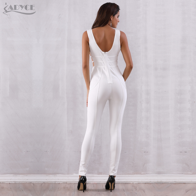 Bandage Jumpsuit Rompers Vestidos Verano Sexy Sleeveless Deep V Hollow Out Celebrity Party Jumpsuits 5