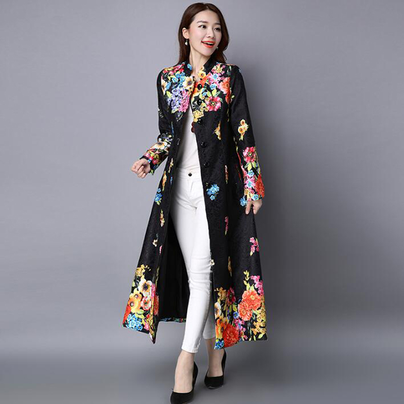 2018 Women Autumn Winter Vintage Print Slim Embroidery Plus Size Cardigan Long coat Chinese National Style Trench Outerwear