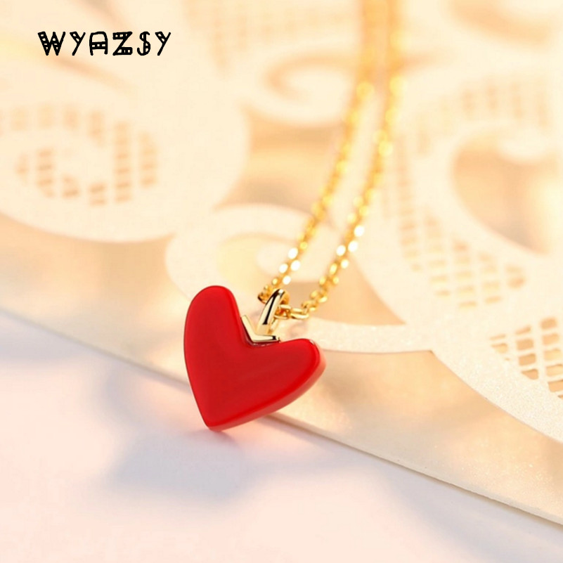 High Quality 100% S925 Sterling Silver Collarbone Chain Fashion Gold Temperament Red Heart Necklaces Summer Hot Sale Jewelry