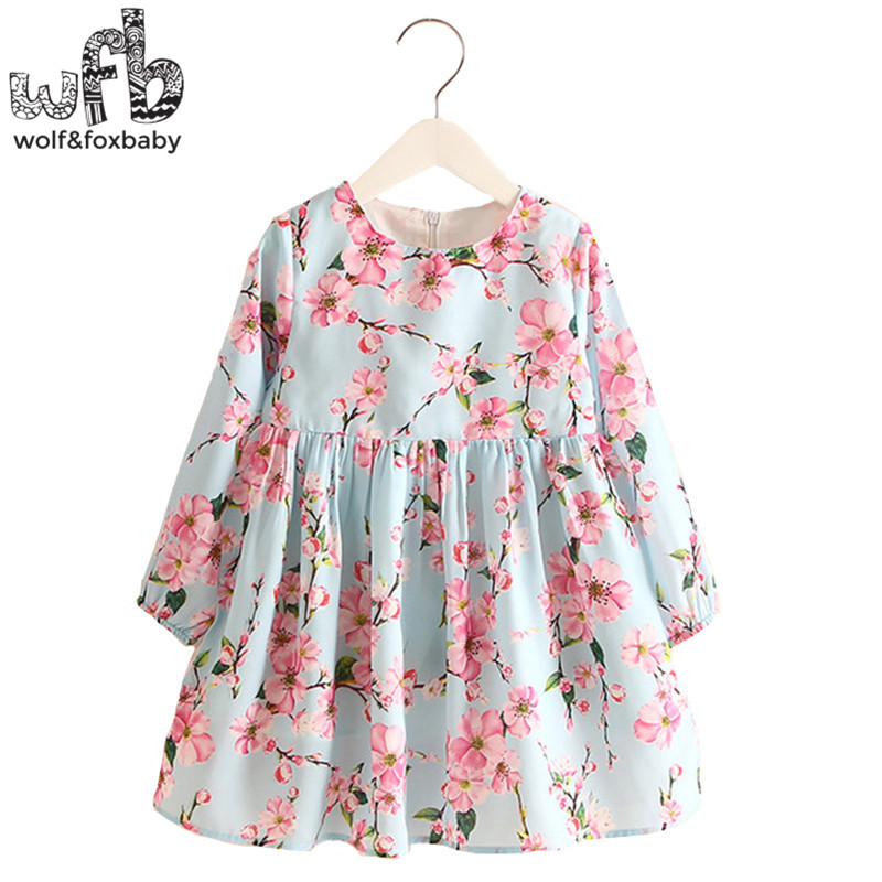 Retail 2-8 Milan Princess Dress Flax Long Sleeve Clothing Baby Girl Cute Korean Pink Floral Print Spring fall 2016 New 2 10yrs girls dress kids princess dress long sleeve baby girl cute palace style blue and white floral embroidery spring 2017 new