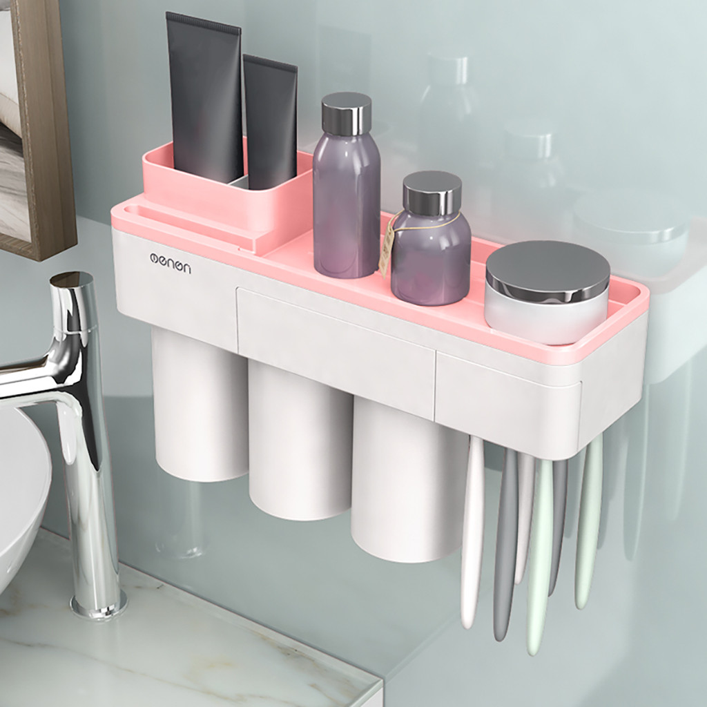 Creative Toothbrush Holder Plastic Family 3 Cups Set Tooth Brush Holder Lazy Toothpaste Storage Wall Mount Rack Bathroom ToolsCreative Toothbrush Holder Plastic Family 3 Cups Set Tooth Brush Holder Lazy Toothpaste Storage Wall Mount Rack Bathroom Tools