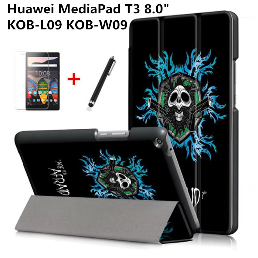 8 Inchtablet Case For Huawei Mediapad T3 8.0 KOB-L09 KOB-W09 Magnetic Folding Stand Smart PU Leather Cover+Screen Protector+Pen