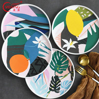 Contrast Color Abstract Bone China Plates Decorative Cake Bread Pasta Serving Platter Wedding Gift For Couple Ceramic Dinnerware