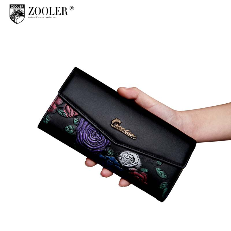 Hot Quality genuine leather bag ZOOLER wallets woman leather purses coin purse embossed fashion wallet carteira feminina- y2953 ivotkova top quality cow genuine leather men wallets fashion splice purse dollar bag price carteira masculina free shipping gift