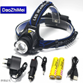 CREE XM-T6 L2 LED 2000LM Aluminum Rechargeable Zoom Headlight Headlamp cree + 2x18650 Battery+AC Charger+Car charger