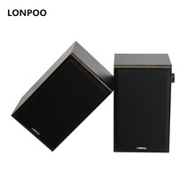 LONPOO Bookshelf font b Speakers b font Hifi Bluetooth Stereo Wooden font b Active b font