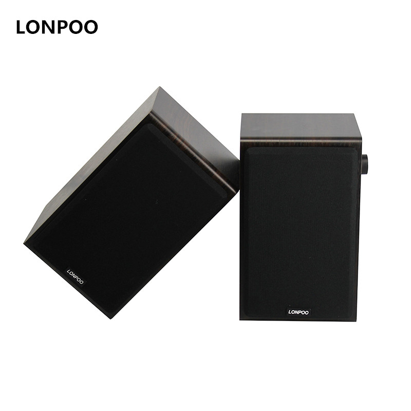 LONPOO Bookshelf Speakers Hifi Bluetooth Stereo Wooden Active Speakers AUX Home Theatre 75 Watts Woofer for Computer Phone TV