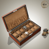 Top 12 Slots Wooden Watch Display Case Fashion Watch And Jewelry Business Gift Case Brown Wooden Watch Storage Boxes