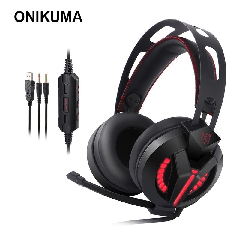 ONIKUMA M180 PS4 juegos auriculares estéreo bajo juego auriculares con aislamiento de ruido Micrófono luz LED de cancelación de ruido auriculares