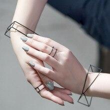 Новинка, лаконичный стиль, минималистичный, черный, покрытый медью, выдолбленный, треугольный, квадратный браслет, запонки, массивные браслеты и браслеты, Bijoux