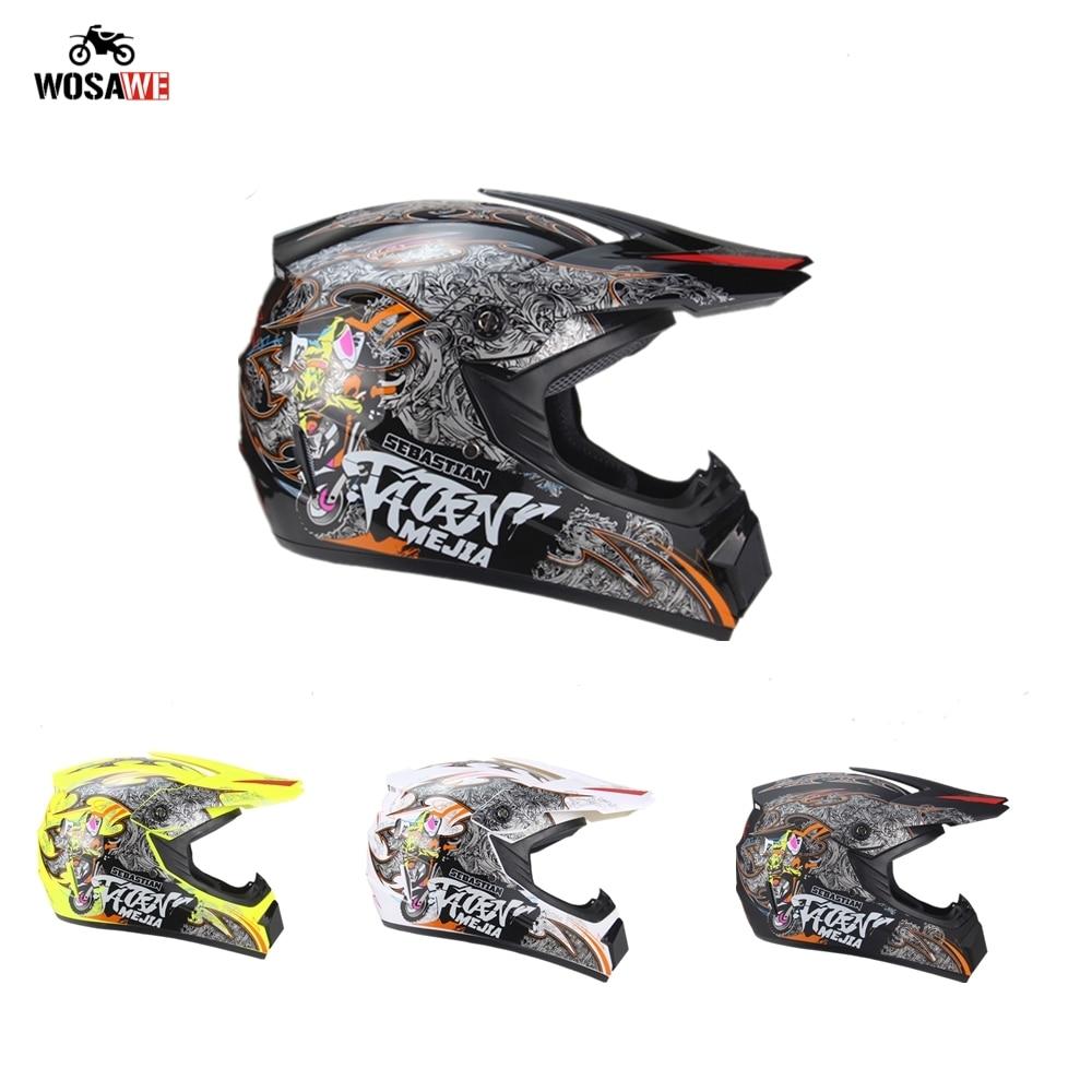 Motorcycle Full Face Helmet Motocross Off Road Helmet Dirt Bike Downhill MTB Racing Helmet Motorbike ABS Material Moto Helmet