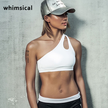 Whimsical 2017 New Women's High Impact Personality oblique Sexy shoulder strap Sports Bra Women running fitness Bra Top clothes