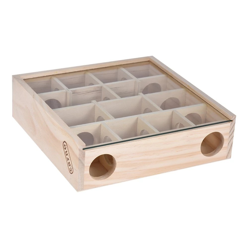 Natural Wood Maze Tunnel Pet Chewing Toy Small Animal Playground with Glass Cover for Hamster Rat Mouse Chinchilla Gerbil