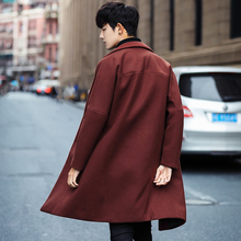 2019 Spring Long woolen cloth coat Men Fashion Trend Dust coat Loose Male Overcoat