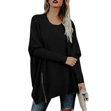 Batwing Sleeve Oversize Knitted Sweaters Women Autumn 2019 Zipper Jumper Sweater Casual Streetwear Long Pullover