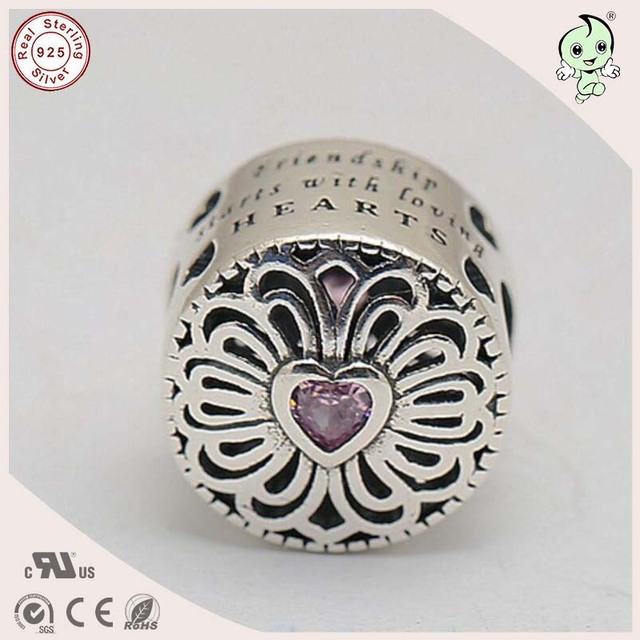 New Arrival High Quality Nice 100% 925 Real Silver  Flower Petal Charm  Fitting European  Bracelet
