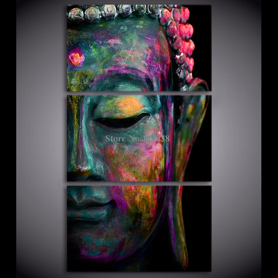 Modern 3 Panels Abstract Buddha Face Printed Canvas