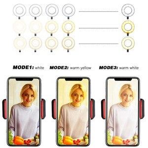 Image 2 - Anillo de luz LED para Selfie 2 en 1 de Wrumava con soporte de teléfono perezoso, soporte de 3 luces, lámpara de escritorio para teléfono iPhone Android
