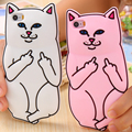 3d bonito ripndipp bolso caso gato para o iphone 6 6 s 6 s plus 5 5S SE Gato Encantador Dos Desenhos Animados Animal Silicone Suave Dedo Médio de Volta cobrir
