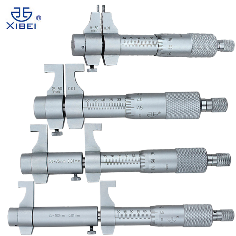 4Pcs Inside Micrometer Set 5-30mm/25-50mm/50-75mm/75-100mm 0.01mm Metric Carbide Ratchet Screw Gauge Micrometers Measuring Tools  inside micrometers 50 600mm 2 24inch 301 05 050 the stem diameter micrometer