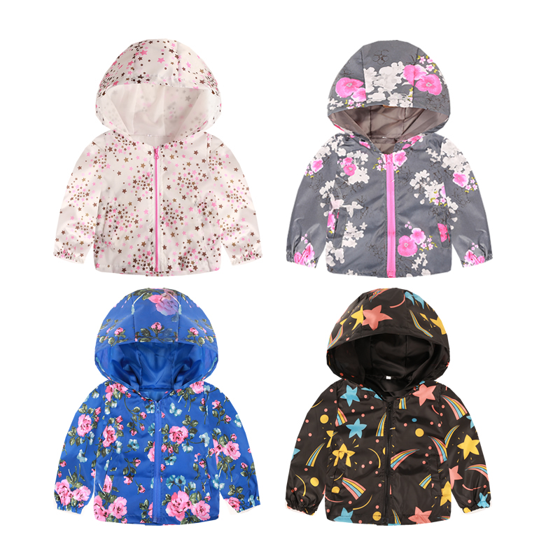 Cartoon Printed Hooded Jackets For Girls Coat Boys Outerwear Baby Jacket Enfant Kids Waterproof Windbreaker Children's Clothing