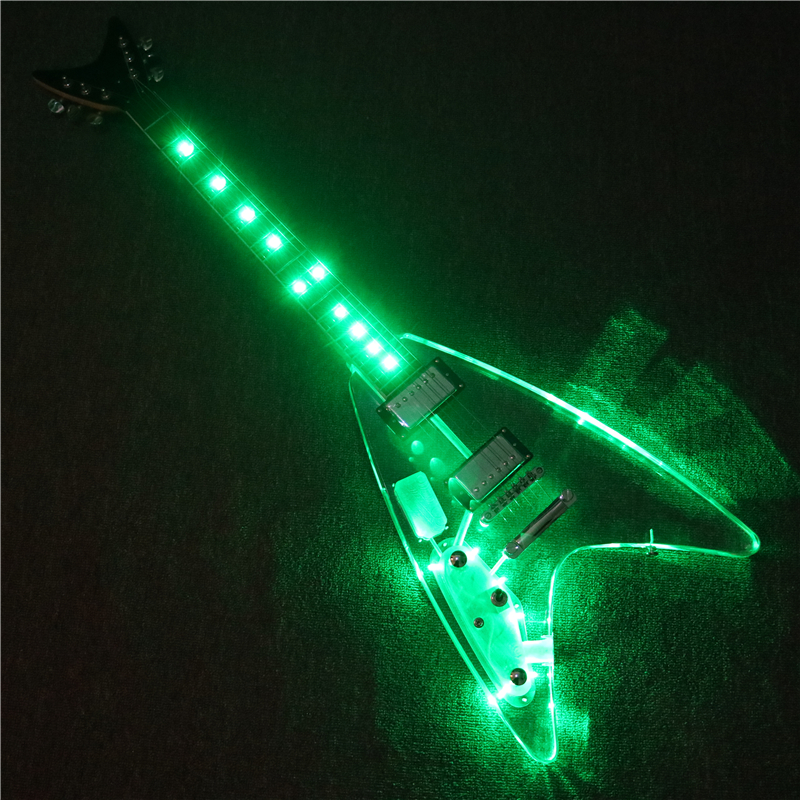 Afanti Music V design Left hand Acrylic Body Electric guitar with Green LED lights (PAG-159)Afanti Music V design Left hand Acrylic Body Electric guitar with Green LED lights (PAG-159)