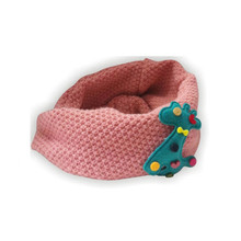 Winter Neckerchief Toddlers Kids Snood Scarf Warm Woolen Knitted Scarf 2-7Y Pink only