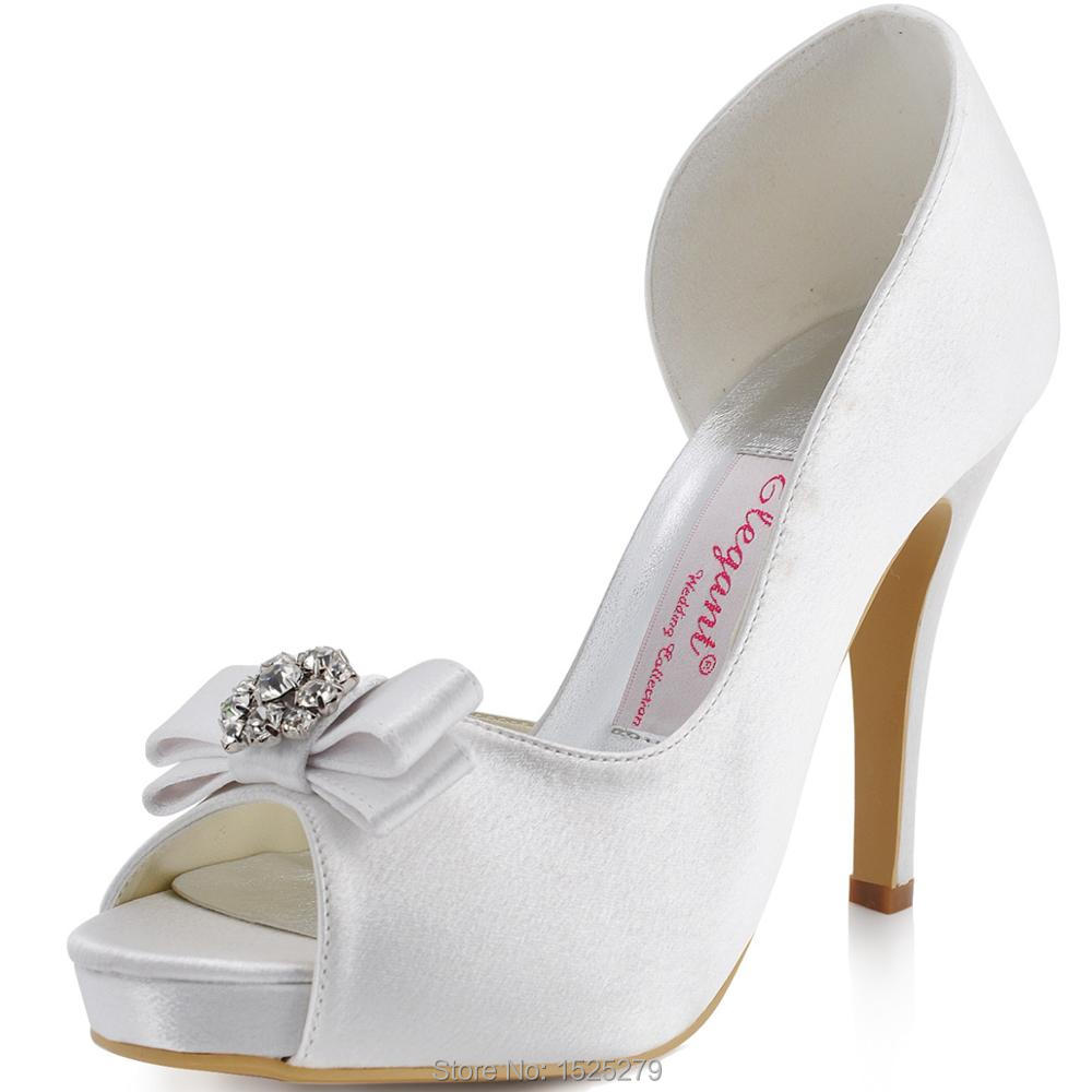 EP11045-IP Women White Wedding Prom Party Pumps Peep Toe High Heel Platforms Bow Rhinestones Satin Bride Bridesmaid Shoes