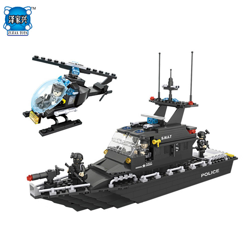 DIY Model Building Block Brick SWAT Escort Boat Helicopter Compatible with Lepins & HSANHE City Boy Figures Toy for Chilren Gift loz mini diamond block world famous architecture financial center swfc shangha china city nanoblock model brick educational toys