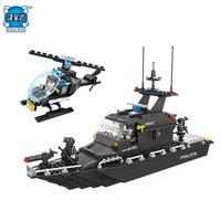 DIY Xây Dựng Mô Hình Khối Gạch SWAT Escort Thuyền Máy Bay Trực Thăng Tương Thích với Lepins & HSANHE Cậu Bé Thành Phố Hình Toy cho Chilren quà tặng