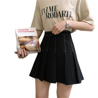 Korean Style Vintage Empire Pleated Skirt Striped Women Autumn Harajuku All Match Skirt High Quality Slimming