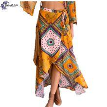 TNLNZHYN Women clothing skirt 2017 summer new fashion large size casual printing irregular long female Half body skirt TT501