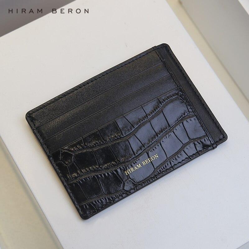 Hiram Beron monogramme Service de luxe en cuir RFID mince hommes portefeuille noir cadeau paquet livraison directe