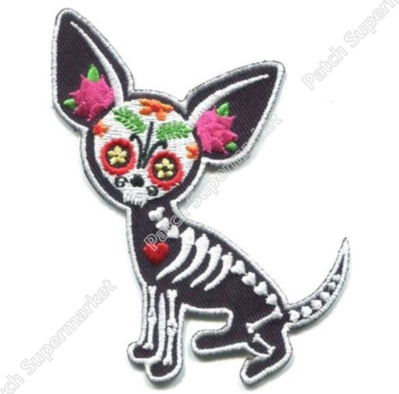 3 75 SUGAR SKULL DOG Patches day of the dead Outlaw Club Rider biker vest Embroidered