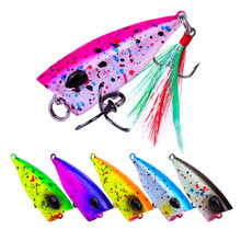 6PCS 4.3cm 4g Popper Fishing Lure Artificial Hard Bait Multicolor Crankbait Floating Twitching Wobblers High Qulity Accessories