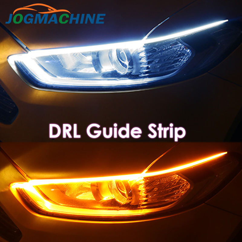 2x Ultrafine DRL 30 45 60cm Daytime Running <font><b>Light</b></font> Flexible Soft Tube Guide <font><b>Car</b></font> LED Strip White Red Turn signal Yellow Waterproof image