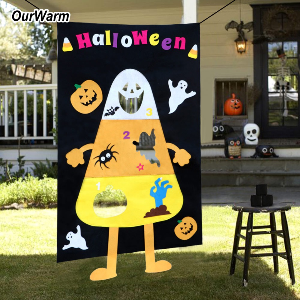 OurWarm Halloween Kids Game Funny Candy Corn Bean bag Toss Game Felt Banner with 3pcs Bean Bags Outdoor Halloween Party Supplies