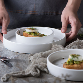 1x White Round Porcelain Dining Breakfast Desserts Cake Snacks Dinner Serving Plate Dish Eco-friendly Dinnerware microwave safe