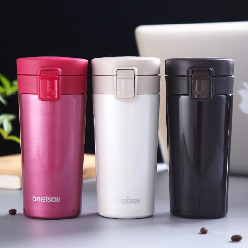 Koffiemok Roestvrijstalen logo Aanpassen Isolatiekop Draagbare Creatieve Thermosflessen 350 ml Drinkware met gratis flessenborstel