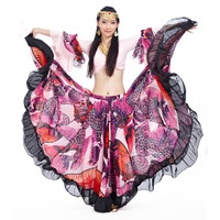 Gypsy Big Skirt Set Oriental Long Sleeves Flower Printing Dress Women Red Black Pink Top For