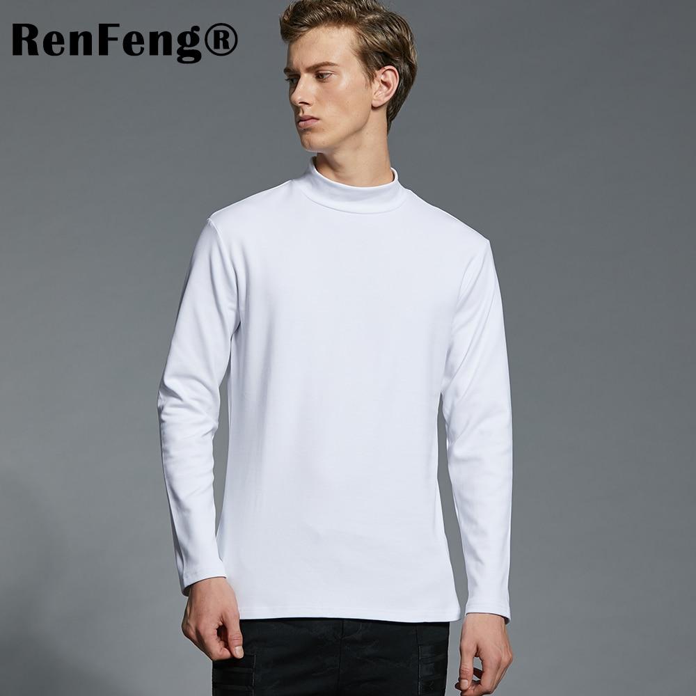2018 Summer Men's Undershirts Long Sleeve Turtleneck Undershirt Men White T-Shirt Plus Size Top Tees 95 Cotton Thermal Underwear (22)