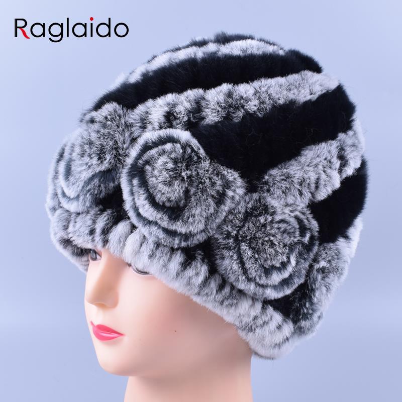 Raglaido 7colors Téli szőrme sapka nőknek Valódi Rex nyúl Virágos asszony Beanie Hat Kötött kötött szőrme sapkák LQ11174