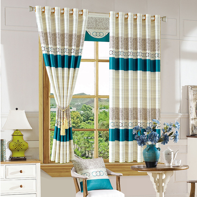 2 PC Short Curtains For The Living Room Bedroom Study Modern Minimalist  Cloth Shading Printed Curtain