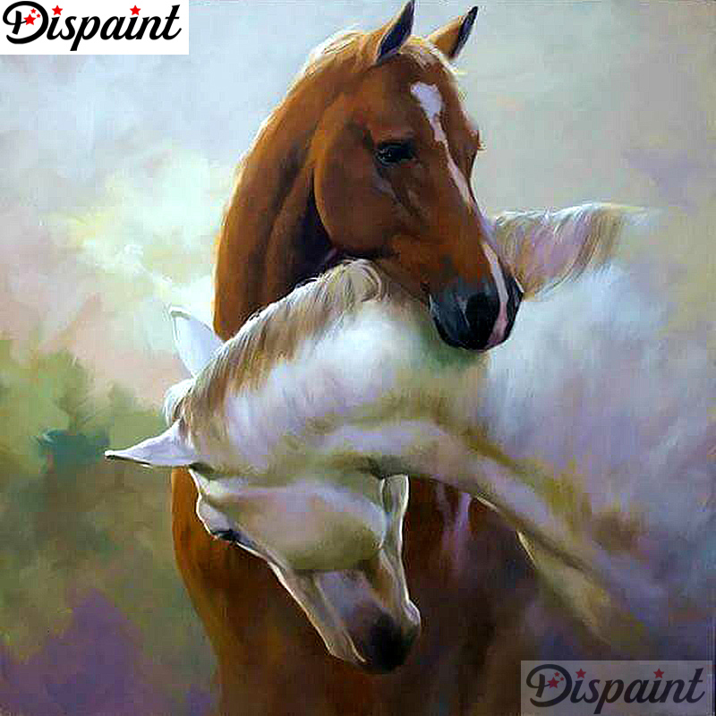 Dispaint Full Diamond Embroidery Animal horse Painting Cross Stitch Patterns Rhinestone Unfinished Home Decor A11020