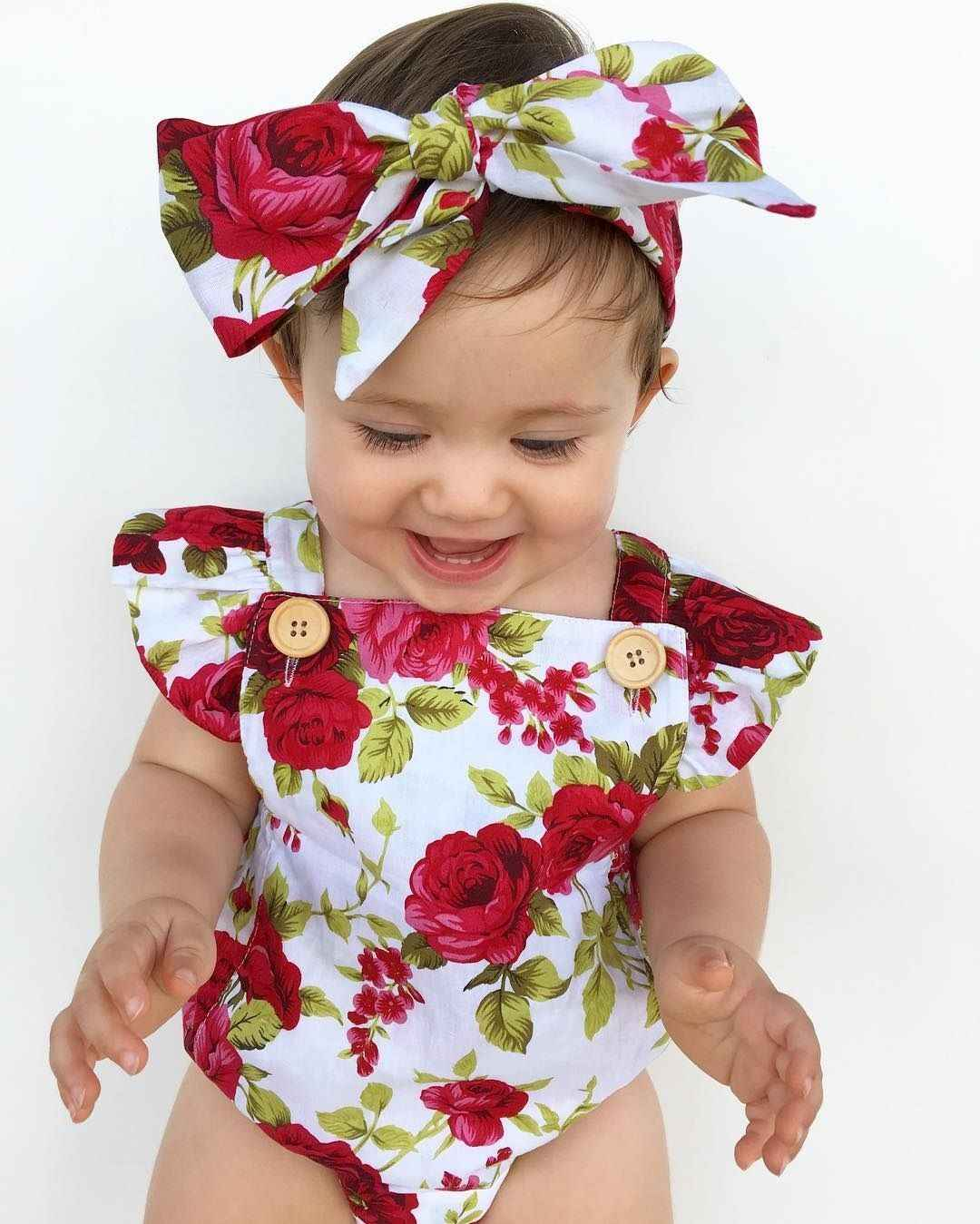 2018 sevimli çiçekli tulum 2 adet bebek kız giysileri tulum Romper + kafa bandı 0-24M yaş Ifant Toddler yenidoğan kıyafetler Set sıcak satış