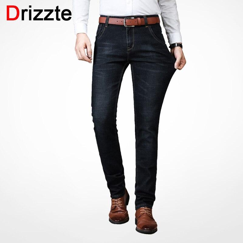 Drizzte Men's   Jeans   Warm Thickening Stretch Denim   Jeans   Slim Fit Trousers Pants   Jeans   men Cotton Moustache Effect Black   Jeans