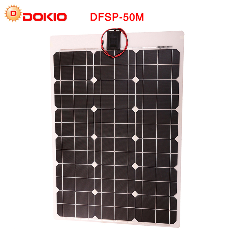 DOKIO Brand 50W 18V Flexible Solar Panel China + 10A 12V/24V Controller 50W Flexible Panels Solar For Car/Boat Battery Charger цена и фото